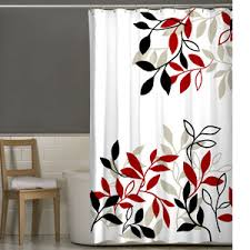 black white red shower curtain. shower bath bathroom maytex mills satori fabric curtain red new · zen fl black gray burgundy white pinterest
