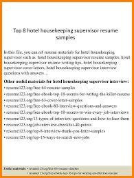 8+ housekeeping supervisor resumes