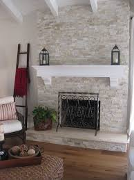 image result for stacked stone fireplace