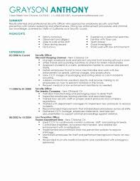 Sample Resume For Security Officers Best Of Security Guard Resume
