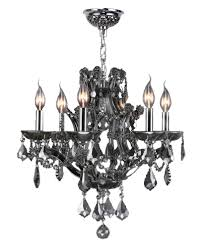 lyre collection 6 light chrome finish and smoke crystal chandelier 20 d x 19