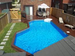 above ground swimming pool ideas. Semi Rectangular Outdoor Above Ground Swimming Pool Ideas Design With Cool Concrete Flooring Options