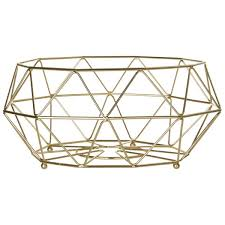 vertex iron wire fruit basket gold finish