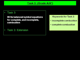 incomplete combustion complete combustion task 3 grade a a task 3 write balanced symbol