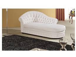 modern white faux leather chaise