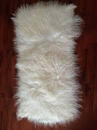 mongolian sheepskin rug whole curly long hair fur grey