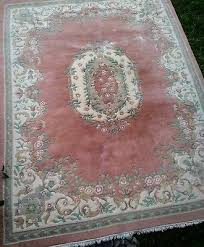 vintage french aubusson fl design wool rug hand made pre owned