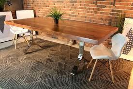 Natural color furniture Dark Furniture Natural Dining Table Acacia Straight Cut Dining Table With Chrome Shaped Legs Natural Color Furniture Chuckragantixcom Natural Dining Table Kuchniauani