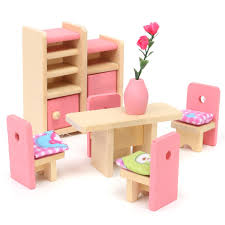 pink dolls house furniture. wooden delicate dollhouse furniture toys miniature for kids children pretend play 6 room set4 pink dolls house u