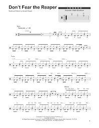 don t fear the reaper sheet music dont fear the reaper sheet music by blue oyster cult drums