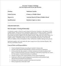 Sensational Design Teacher Job Duties 8 Substitute Description