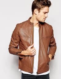 men s fashion jackets er jackets brown leather er jackets asos brand leather biker jacket