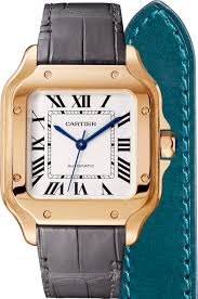 santos de cartier watch medium model automatic pink gold 2 interchangeable leather bracelets