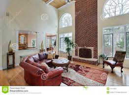 Two Story Living Room Decorating Two Story Living Room With Fireplace Stock Photo Image 6769290