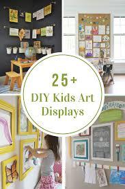 kid art wall display