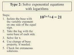 type 2 solve exponential equations with logarithms