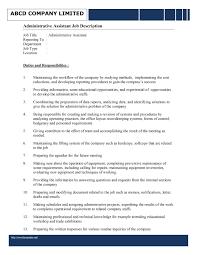 administrative assistant job description for resume template administrative assistant job description template dg4zzlod