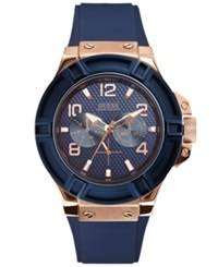 guess watches for men nuji guess watch men s blue silicone strap 46mm u0247g3