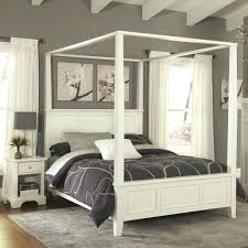 Full Size Canopy Bed Wood Frame White – fireavery