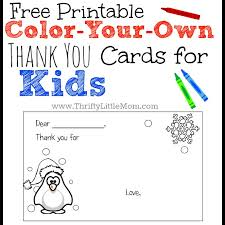 Free Printable Thank You Postcards Color Your Own Printable Thank You Cards For Kids Thrifty