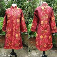 Fiery Red Embroidered Hand-Made <b>Faux Silk Boho</b> Hippy Kashmiri ...