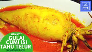 Masakan bersantan ini berisi tahu dan telur. Resep Gulai Cumi Padang Gulai Cumi Isi Tahu Telur Resep Cumi Bunting Gulai Cumi Youtube