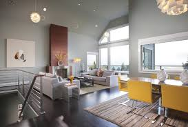 gray and yellow dining room ideas. contemporary brown floor living room idea in portland with gray walls and a standard fireplace yellow dining ideas n
