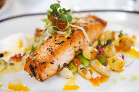 french fine dining menu ideas. salmon on asparagus from durham restaurant french fine dining menu ideas