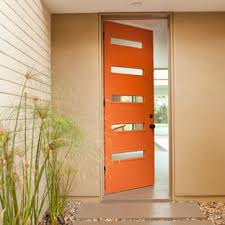 Orange front door Paint Example Of 1950s Entryway Design In Los Angeles With An Orange Front Door Houzz Orange Front Door Ideas Houzz