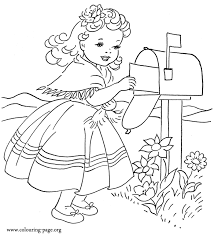 Small Picture Girl Mailing Valentines Day Card Coloring Page Adult Coloring