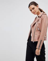 reiss classic leather biker jacket clothing coats jackets for women mid pink n3to7gpz
