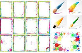 frame border design. Brush And Ink Color Frame Vector Border Design