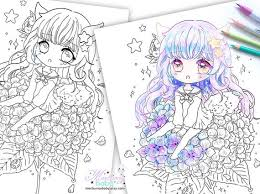 If you continue to use this site we will assume that you are happy with it.ok. Fox Chibi Girl On Hydrangea Coloring Page Cute Anime Etsy