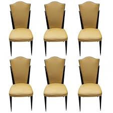 set of 6 french art deco ebonized walnut dining chairs brass ball detail circa art deco dining 6