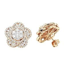 Designer Diamond Stud Earrings Amazon Com Ladies 14k Gold Designer Diamond Flower Stud