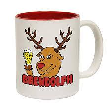 123t funny mugs brewdolph joke birthday gift birthday pun red inner two tone novelty