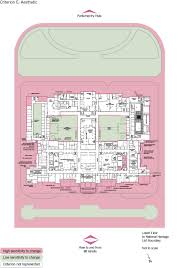 old parliament house lower floor plan showing the zones according to criterion e aesthetic