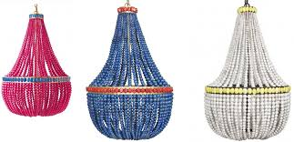 multicolored beaded chandeliers