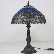 Warmth Bedroom Table Lamp Blue Ddragonfly Tiffany Style Desk Lamp