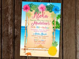 Hawaiian Pool Party Invitations Hawaiian Luau Invitation Luau Birthday Party Invitation Etsy