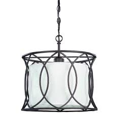 canarm monica oil rubbed bronze one light drum pendant with white fabric shade