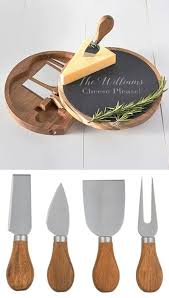 cathy s concepts personalized slate acacia cheese board w utensils personalized gifts and party favors
