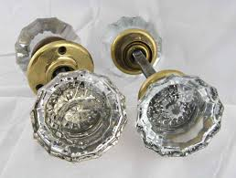 Antique Extra Large Fluted Glass Door Knob Set with Rosettes ...