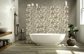 patterned tiles as a feature wall