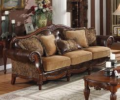 Traditional Sofa Sets Living Room Traditional Sofas Dreena Traditional Bonded Leather And Chenille