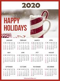 2020 Calendar With Us Holidays Coffee Calendars 2020 Printable With Us Holidays Sunday