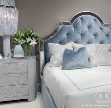 deco sky blue headboard with silver trim linen wrapped dresser bernhardt bedroom the decorating diva blue vintage style bedroom