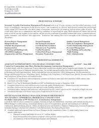 Psychology Resume Objective Custom Field Assurance Coordinator Resume Construction Project Management