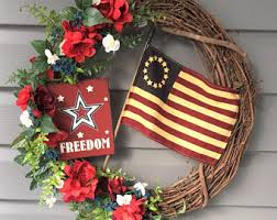 patriotic wreaths for front doorJuly 4th wreath  Etsy