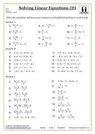 solving equations with fractionss algebra linear page min one step fractions worksheets on both sides worksheet